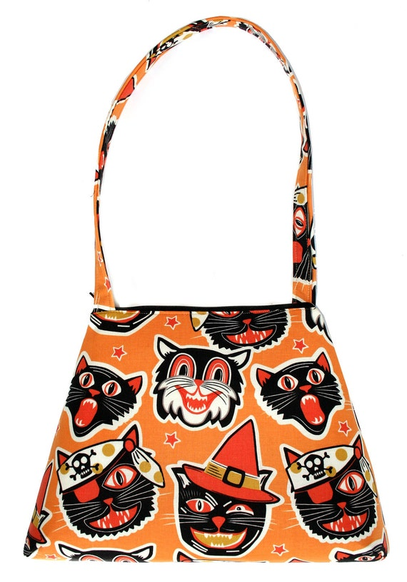 Cats, Halloween, orange and black, retro style, tall Retro