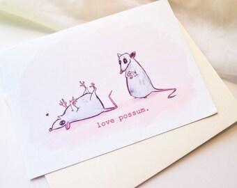Love Possum // Awkward Love // Cute Blank Love Card // Love Note // Possum Card