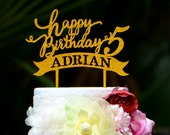 Personalized Happy Birthday Cake Topper with Number and Name, Custom Birthday Cake Topper 088