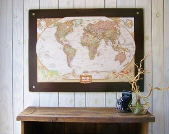 World Map. Industrial Map. Large Push Pin Map.
