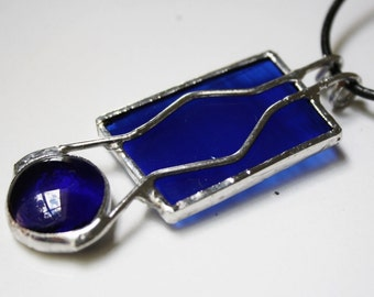 Abstract Pendant Modern Necklace of Sapphire Blue Stained Glass Original Handcrafted Jewelry