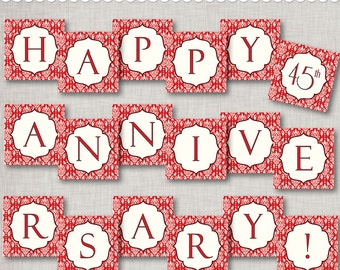 Instant Download 45th Anniversary Banner - printable PDF