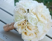 Silk bridal bouquet, champagne roses, white ranunculus