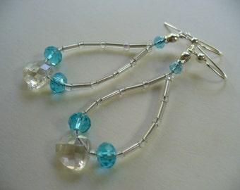 Beaded Dangle Earrings, Blue, Silver and Clear Beaded Dangle Earrings, Silver Earring, Dangle Earring, Womens Jewelry, Blue Earrings