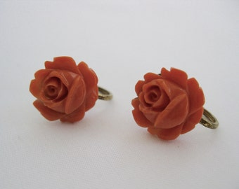 vintage. EARRINGS. celluloid. ROSE. coral. CARVED. 1950s.