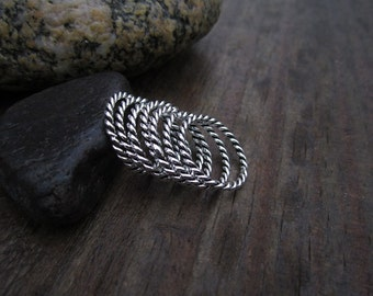 Twisted Wire Stacking Sterling Silver Band Rings - Solid Sterling - Stacking Ring