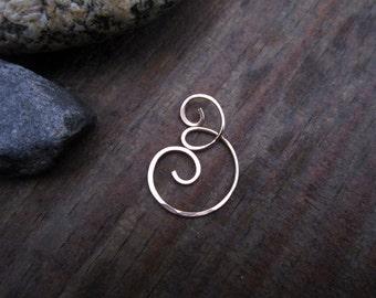 Bronze Charm Holder / Ring Holder Pendant Large - Medium - Small - Free Form Hammered Bronze