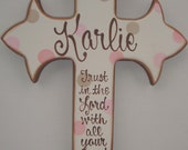 Childs large hand painted personalized wooden wall cross with prayer verse