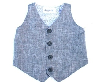 Our Charles Grey Linen Look Boys Vest, Boys Gray Vest, Wedding Ring Bearer, Easter Outfit, Toddler to Teen, and Infant Vest