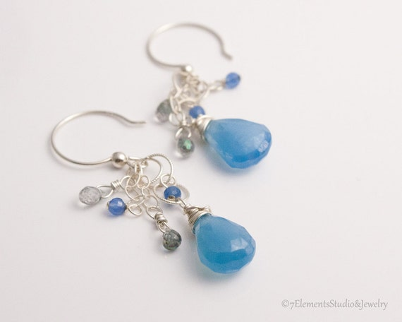 Blue Chalcedony, Mystic Topaz, Blue Onyx and Sterling Silver Earrings