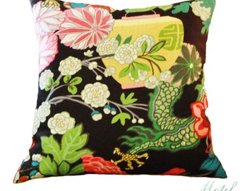 Schumacher Pillow Chiang Mai Dragon Pillow Cover - Chinoiserie Pillow - Turquoise Blue Red Pink and Gold Pillow - Designer Floral Pillow