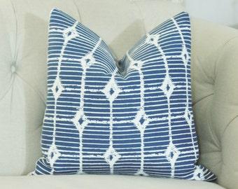 Blue Outdoor Pillow Cover 16 x 20 - Shutter To Think Denim Perennials - Designer Decorative Blue Ikat  Stripe Pillow - Modern Pillow