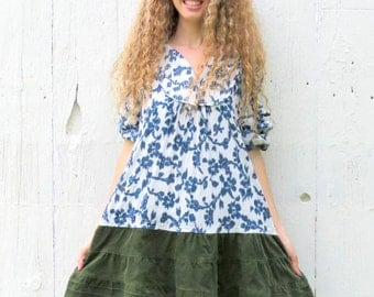 Upcycled clothing for women - Green dress - boho dress , gypsy dress  woodland mori girl , womans size large , recycled repurposed clothes