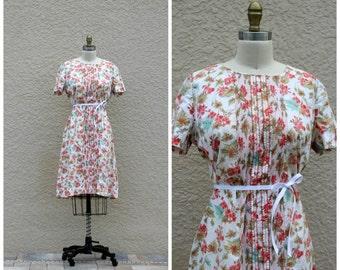 Vintage 60s Floral Shift Tunic Dress// Scooter Dress// Summer Day Dress// Cotton Dress// Large Dress// Tanner of North Carolina