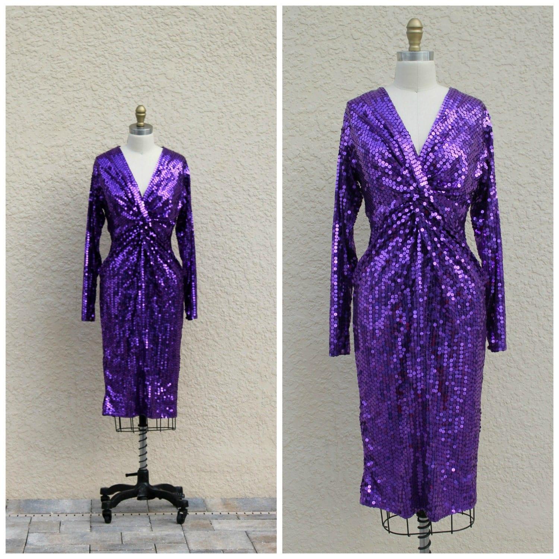 Vintage 80s Purple Sequin Cocktail Dress Party Prom Dress