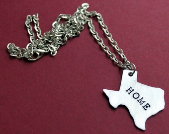 Texas Home Necklace, Sterling Silver Texas Necklace, Texan Jewelry, State Charm Necklace, Home is where the heart is, Southern Country Girl