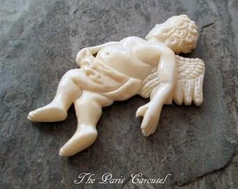 carved bone cherub angel cupid pendant jewelry necklace supply vintage style