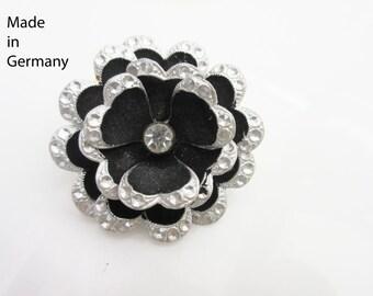 Germany Flower brooch Rhinestone aluminum silver