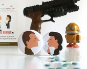 Blade Runner. Round pin badges (Round pin buttons). Accessory. Gift. Illustration based on Ridley Scott's film. Tutticonfetti.