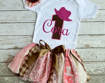 Pink Cowgirl Birthday Outfit Cowgirl Baby Tutu Pink Cowgirl Dress Western Birthday Western Tutu 1st Birthday Pink Brown Birthday Baby Girl