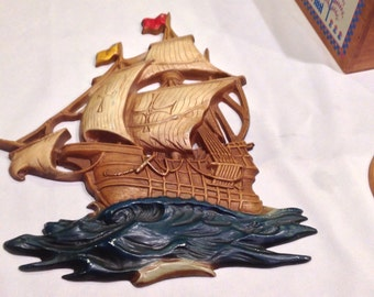 Awesome Cast Iron Galleon Ship Wall Hanging by Midwest