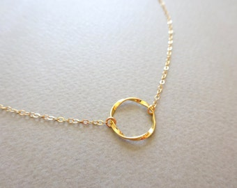 Circle Necklace Dainty Gold Necklace Gold Necklace Eternity Necklace Karma Necklace Gold Jewelry Gold Choker Necklace Bridesmaids Necklace
