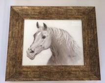 Framed Horse drawing,Framed Equine drawing, cowboy wedding, airbrush