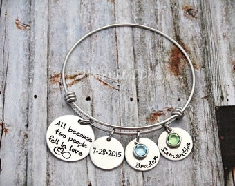 Charm Bracelet - Wire Bangle - Couples - All Because Two People Fell In Love - Mom - Hand Stamped - Personalized - Wedding - Anniversary