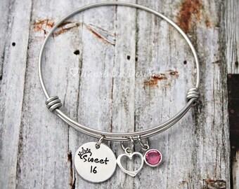 Charm Bracelet - Wire Bangle - Sweet 16 - Charm Bracelet - Adjustable - Name Bracelet -  Heart - Birthday Gift For Her - Girls Bangle