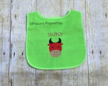 Taurus Embroidered Bib, Taurus Embroidery Gift, Baby Shower Gifts, Gifts for Taurus, Personalized Gifts, Unique Gifts, Trendy Gifts