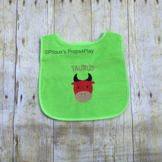 Taurus embroidered bib embroidery gift baby shower