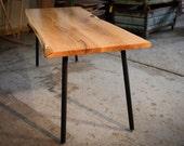 RUSTIC DINING TABLE, Natural Acacia Dining Table,  On Original Adjustable Steel Rod Legs, Modern, Industrial, Handmade, Home Furniture