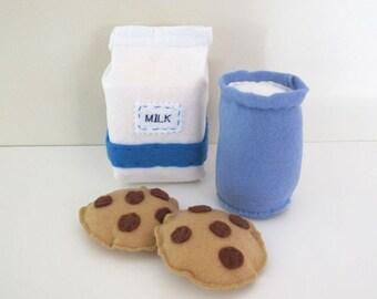 Milk and Cookies, Felt Play Food, Pretend Food, Milk Carton, Felt Biscuits