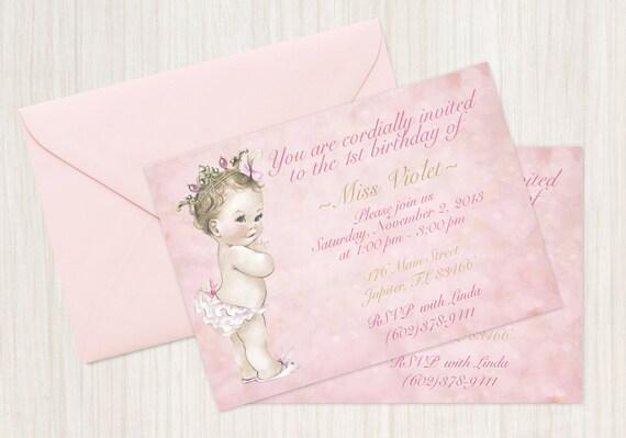 Vintage Baby Girl Customizable Birthday Invitations, Customize, Girl Birthday Invitations, First Birthday, Printable Invitations, Princess