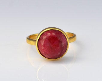Red Ruby ring, gemstone gold ring, red rings, globe ring, Round chalcedony ring, July Birthstone ring, silver ring, ruby jewelry, gold ring