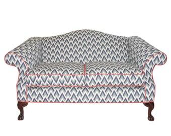 Refurbished Upholstered Vintage Camel Back Sofa