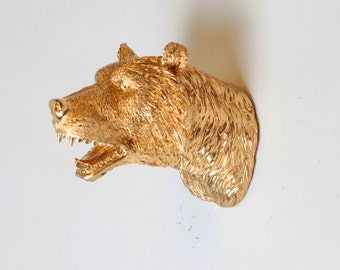 Gold Faux Bear Head - The MINI Elmhurst - Miniature Gold Resin Bear Head- Resin White Faux Taxidermy- Faux Animal Head White Faux Taxidermy