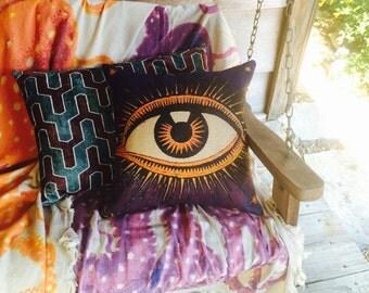 Eye Pillow, Burlap Decorative Throw Pillow, Purple & Orange