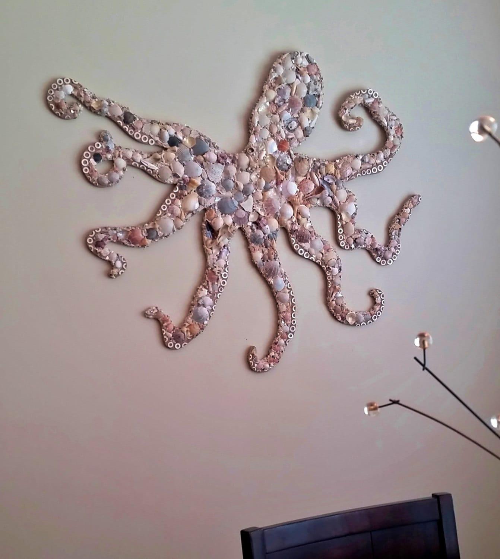 octopus wall art seashell mosaic on wood coastal octopus. Black Bedroom Furniture Sets. Home Design Ideas