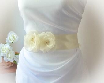 Ivory Wedding Sash - Ivory Bridal Sash - Ivory Flower Sash - Ivory Floral Bridal Sash