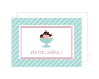 Ice Cream Party Thank You Cards (Ice Cream Folded Note Card, Baby Shower Thank You, Ice Cream Notecard, Ice Cream Shoppe Thank You)