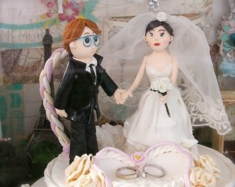Ooak Wedding Cake Topper-love bride and groom - One of A Kind Dolls