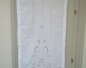White cutwork curtain with a traditional greek design-Greek product-Mediterranean-Cottage chic-842