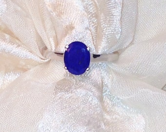 Lapis Solitaire Ring in Platinum Handmade Jewellery by NorthCoastCottage Jewelry Design & Vintage Treasures