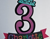 Custom number Birthday Cake topper with 3D Embellishment - Boys - Girls - Adults - Children
