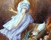 1865 ALICE in WONDERLAND Courtroom John TENNIEL Colour Print Ideal for Framing