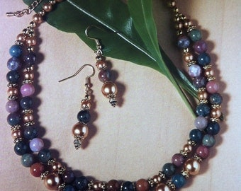 Jasper Double Strand Necklace and Earrings