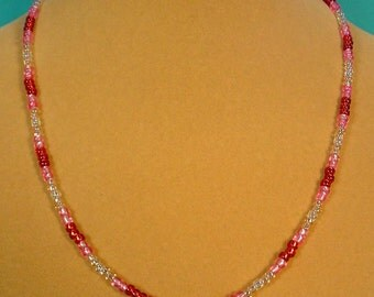"""20"""" Red, Pink and Clear Glass Beads necklace - N398"""