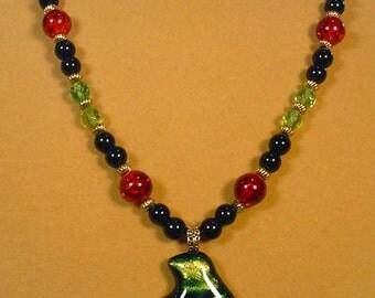 BRIGHT, Multi-Colored Dichrotic Glass Pendant Necklace - N379