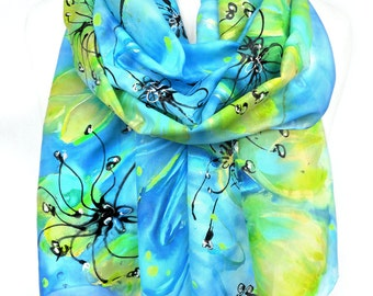 Tulips Scarf. Hand Painted Silk Scarf. Floral Shawl. Genuine Silk Art. Woman Gift. Fashion Scarf. 14x71in (35x180cm) Ready2Ship